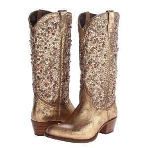 Frye Deborah Tall Studded Gold Western Boots 8